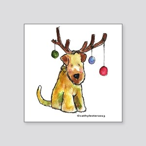 Wheaten terrier with Christmas Antlers Square Stic