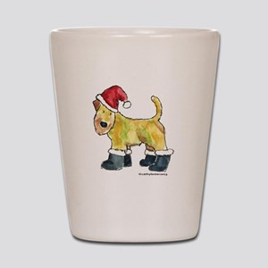 Wheaten terrier playing Santa Shot Glass