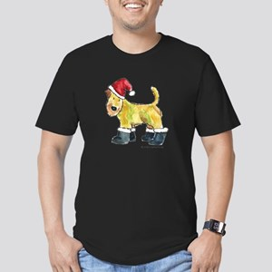 Wheaten terrier playing Santa Men's Fitted T-Shirt