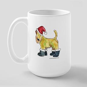 Wheaten terrier playing Santa Large Mug