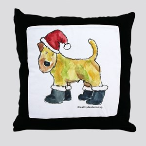 Wheaten terrier playing Santa Throw Pillow