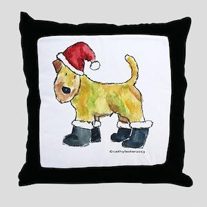 Wheaten terrier playing Santa Throw Pillow