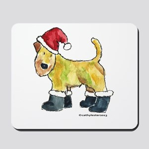 Wheaten terrier playing Santa Mousepad
