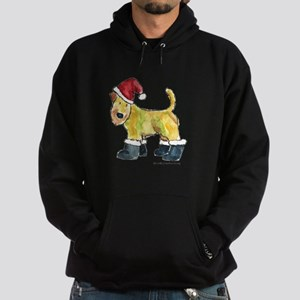 Wheaten terrier playing Santa Hoodie (dark)