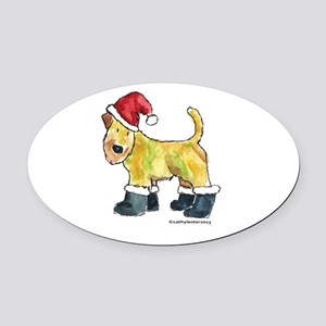 Wheaten terrier playing Santa Oval Car Magnet
