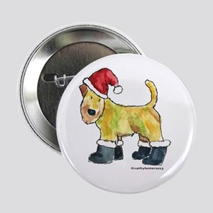 "Wheaten terrier playing Santa 2.25"" Button"