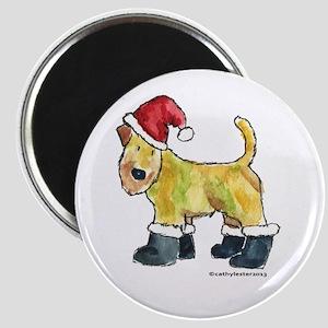 Wheaten terrier playing Santa Magnet