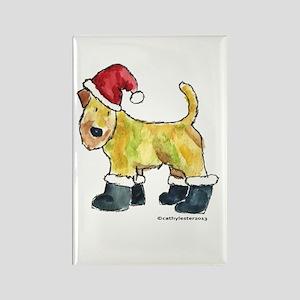 Wheaten terrier playing Santa Rectangle Magnet