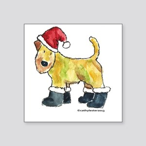 "Wheaten terrier playing Santa Square Sticker 3"" x"