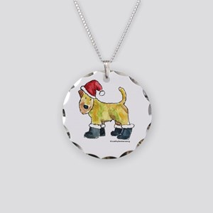 Wheaten terrier playing Santa Necklace Circle Char