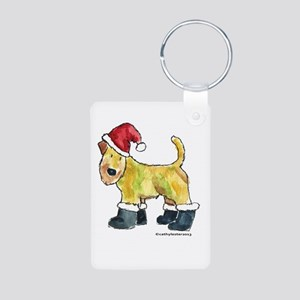 Wheaten terrier playing Santa Aluminum Photo Keych