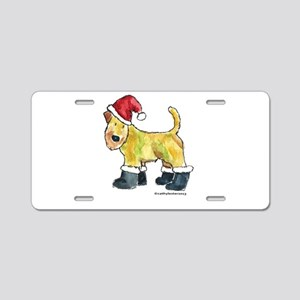Wheaten terrier playing Santa Aluminum License Pla