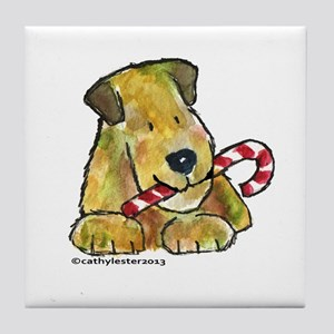 Wheaten terrier with Candy Cane Tile Coaster