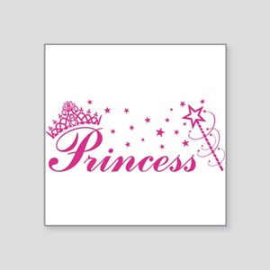 Princess with tiara, stars and magic wand in pink