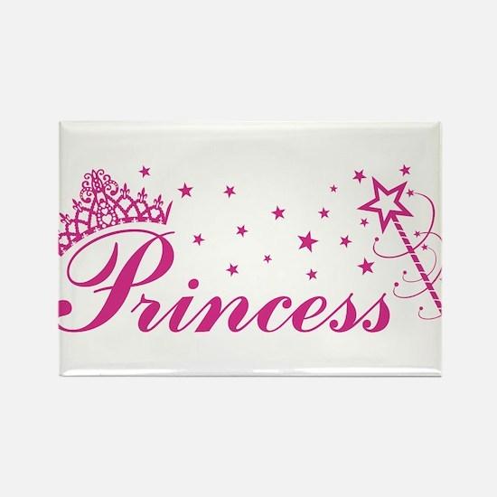 Princess with tiara, stars and magic wand in pink