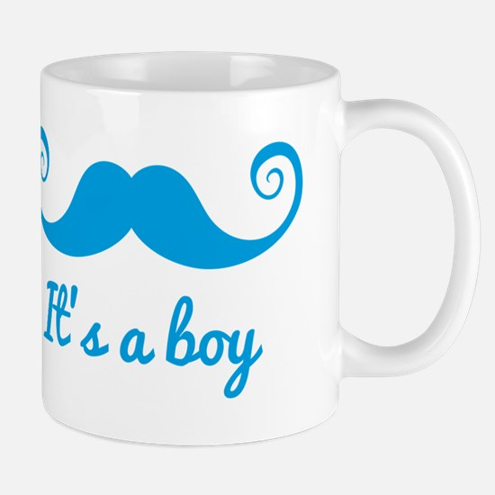 it's a boy design with blue mustache for baby Mug