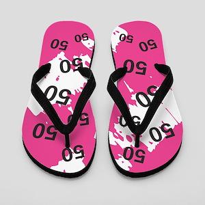 Pink 50th Birthday Gag Gift Flip Flops