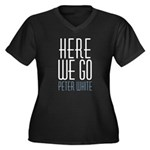 Here We Go contrast Plus Size Women's V-Neck