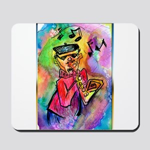 Music! Colorful sax muscian! Mousepad