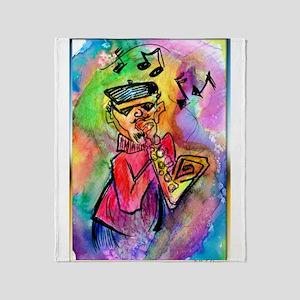 Music! Colorful sax muscian! Throw Blanket