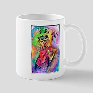 Music! Colorful sax muscian! Mug