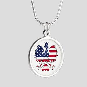 Polish American Eagle Silver Round Necklace