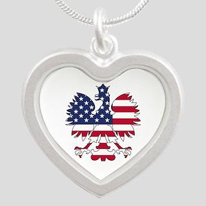 Polish American Eagle Silver Heart Necklace