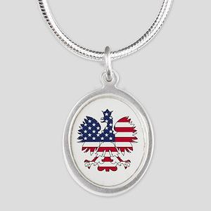 Polish American Eagle Silver Oval Necklace