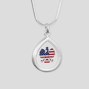 Polish American Eagle Silver Teardrop Necklace