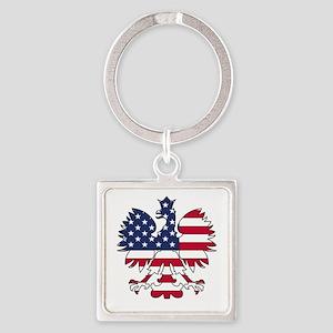 Polish American Eagle Square Keychain