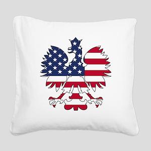 Polish American Eagle Square Canvas Pillow