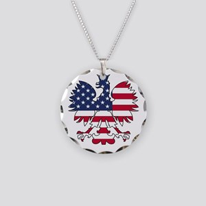 Polish American Eagle Necklace Circle Charm
