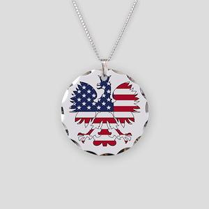 Polish American Eagle Necklace Circle Charm