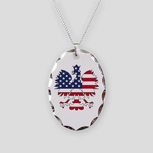 Polish American Eagle Necklace Oval Charm