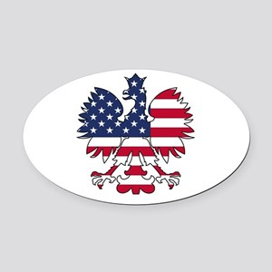 Polish American Eagle Oval Car Magnet