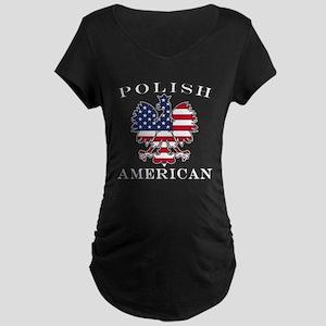 Polish American Flag Eagle Maternity Dark T-Shirt