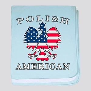 Polish American Flag Eagle baby blanket