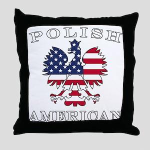 Polish American Flag Eagle Throw Pillow