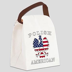 Polish American Flag Eagle Canvas Lunch Bag
