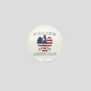 Polish American Flag Eagle Mini Button