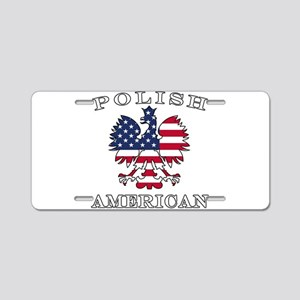 Polish American Flag Eagle Aluminum License Plate