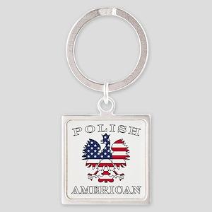 Polish American Flag Eagle Square Keychain