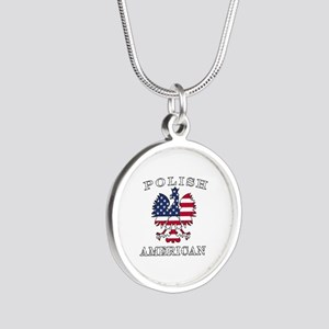 Polish American Flag Eagle Silver Round Necklace