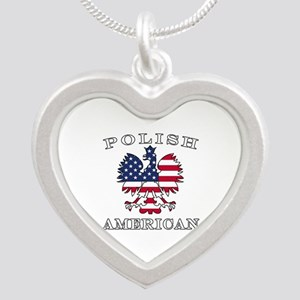 Polish American Flag Eagle Silver Heart Necklace