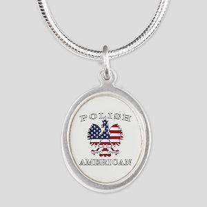 Polish American Flag Eagle Silver Oval Necklace