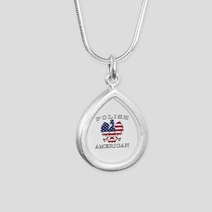 Polish American Flag Eagle Silver Teardrop Necklac