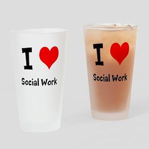 I heart Social Work Drinking Glass