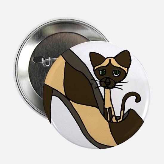"Siamese Cat in High Heel Shoe Art 2.25"" Button"