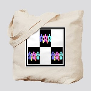 five flowers on black white 12x12 Tote Bag