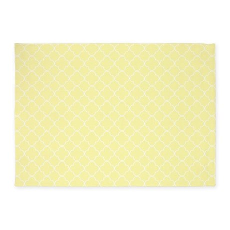 yellow white quatrefoil 5 39 x7 39 area rug by dreamingmindcards. Black Bedroom Furniture Sets. Home Design Ideas